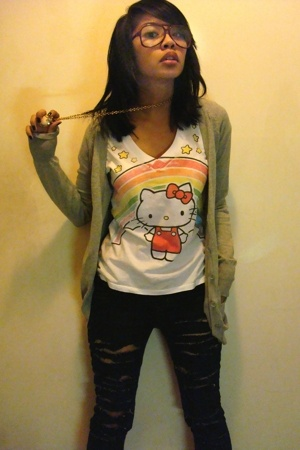 glasses - vintage necklace - hello kitty t-shirt - Macys sweater - DIY jeans