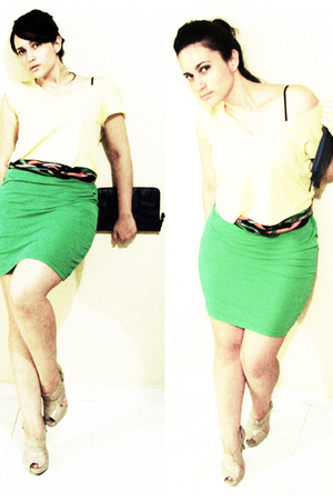 American Apparel shirt - vintage belt - American Apparel skirt - wild diva shoes