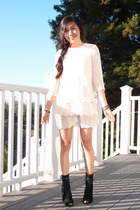 black suede Urban Outfitters wedges - eggshell tiered H&M dress