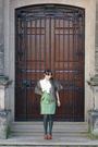 White-vintage-blouse-green-skirt-green-vintage-skirt-green-tights-brown-