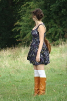 Topshop dress - socks - Fry boots - purse