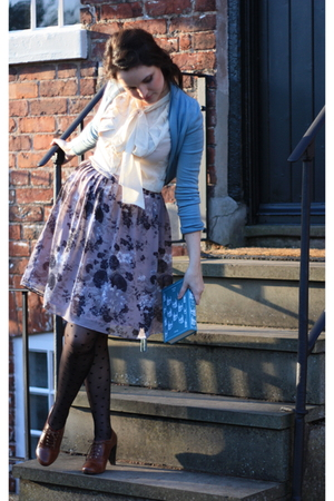 blue Topshop sweater - beige vintage blouse - pink Topshop skirt - black Miss Se