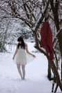 White-topshop-dress-white-asos-tights-red-vintage-jacket-silver-repetto-sh