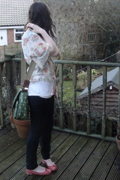 white vintage blouse - red Repetto shoes - green Cath Kidston bag accessories