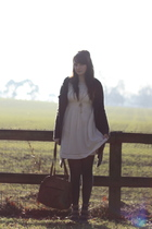 white Topshop dress - gray vintage cardigan - brown Topshop shoes - brown vintag