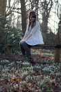 White-topshop-dress-gray-vintage-cardigan-brown-topshop-shoes-brown-vintag