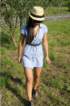 sky blue Bershka dress - beige Zara hat - black H&M sandals