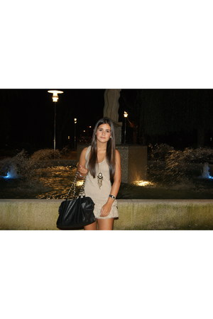 dark khaki Stradivarius dress - black BLANCO bag