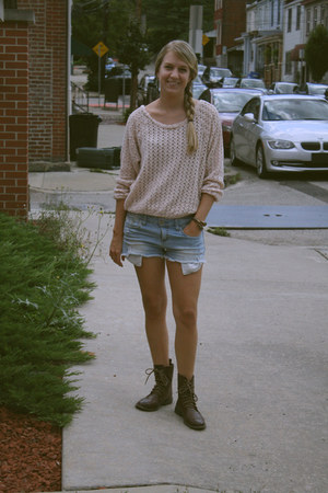 dark brown H&M boots - light blue Forever 21 shorts