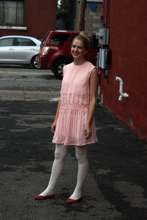 light pink vintage dress - white Urban Outfitters tights