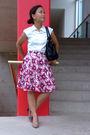 White-esprit-top-pink-rw-co-skirt-beige-aldo-shoes-black-unknown-purse