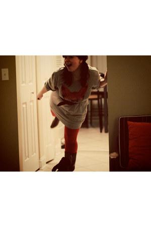 dark brown vintage boots - heather gray Urban Outfitters dress - burnt orange ru