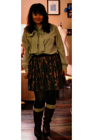 dark brown vintage boots - dark brown map print f21 skirt - white pussybow thrif