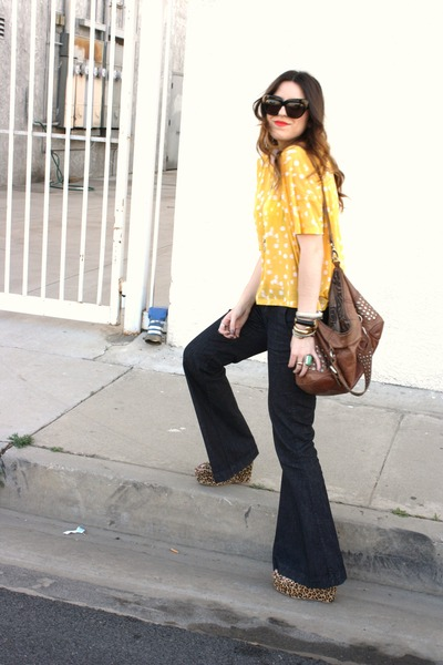 burnt orange Jeffrey Campbell shoes - navy American Rag pants - yellow H&M blous