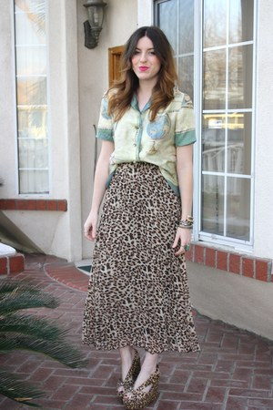 vintage blouse - Forever 21 skirt - Jeffrey Campbell wedges