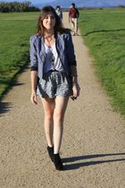 Forever 21 boots - Urban Outfitters jacket - H&amp;M shirt - foreign exchange shorts
