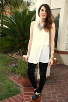 H&M top - Forever 21 leggings - Jeffrey Campbell wedges