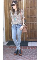 vintage blouse - bdg uo jeans - JC shoes - Aldo purse - f21 necklace
