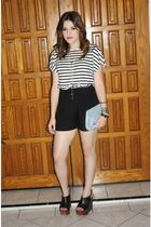H&M blouse - unknown brand shorts - Jeffrey Campbell shoes - vintage purse