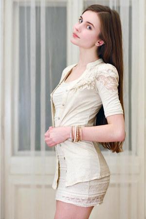 ivory lace Stradivarius cardigan - ivory lace H&M dress - KappAhl bracelet