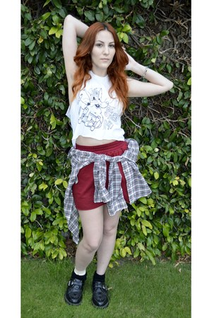 white Plaid Button Down blouse - Buckle Creepers shoes - American Apparel skirt