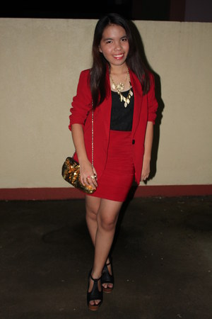 red Forever 21 blazer - gold sequined Forever 21 purse