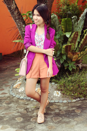 magenta Forever 21 blazer - light purple floral oxfords Forever 21 shoes