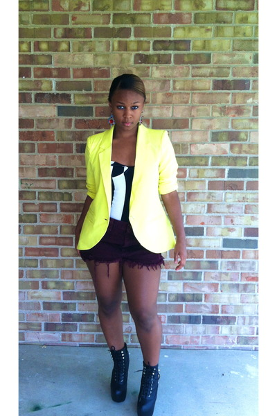 black Jeffrey Campbell boots - yellow blazer - crimson vintage from Ebay shorts