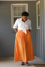 Orange-zara-skirt-white-basic-shirt-tan-mossimo-heels-gold-target-watch