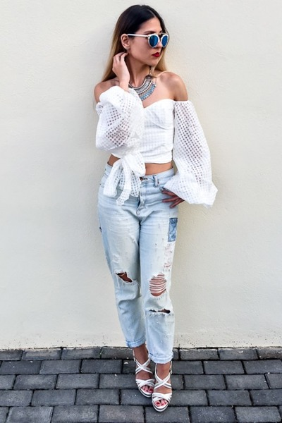 white white shein tops sky blue boyfriend jeans h m jeans lantern sleeves by armariodevero. Black Bedroom Furniture Sets. Home Design Ideas