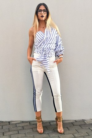 white stripes shein shirt - navy striped VIPme pants
