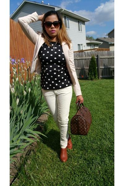 brown bag - brown speedy 30 Louis Vuitton bag - black zipper pockets Zara top