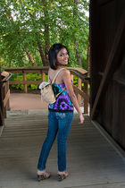 ecb1dbd505aa1 beige bag - purple thrifted top - blue jeans - beige shoes - black lia  sophia
