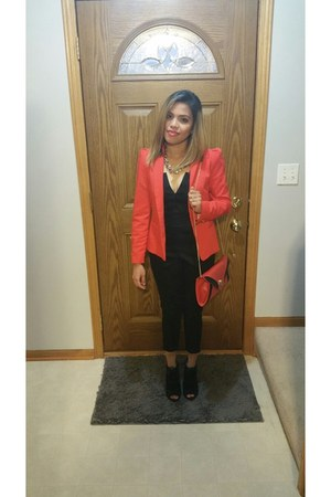 red one button Zara blazer - black bodysuit - silver chain Steve Madden necklace