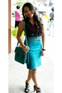 Teal-forever-21-skirt-black-sequined-for-me-blouse
