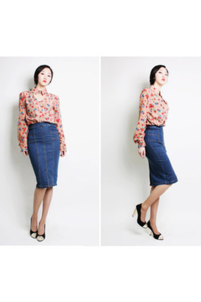 tan ARTFIT blouse - navy ARTFIT skirt