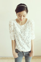 SHASHA sheer lace top