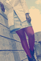 ivory jacket - blue faded denim skirt - maroon stockings