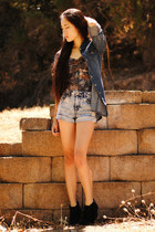 denim Solilor jacket - acid wash denim Forever 21 shorts