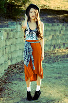carrot orange Forever 21 skirt - marblelized H&M dress - Forever 21 hat