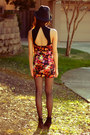 Floral-motel-rocks-dress-fedora-forever-21-hat