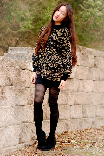 jacquard print vintage sweater - plaid H&M tights