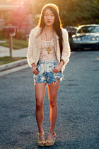 Paradox shorts - faux fur Sugarlips jacket - lace tank Urban Outfitters top