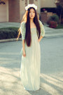 Mint-maxi-forever-21-dress-lulus-blazer-gold-antler-merrin-gussy-necklace