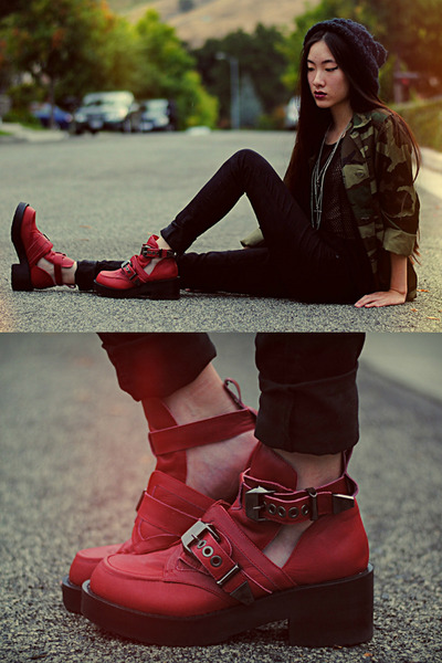 ruby red Jeffrey Campbell X Wasteland boots
