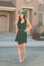 Green-skater-ellysage-dress-floral-roses-and-clementines-bracelet