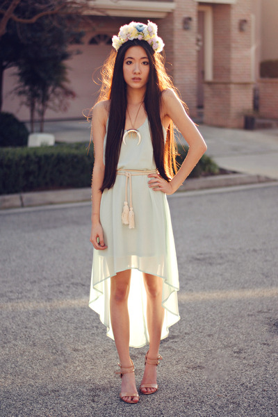 mint high-low lucca couture dress - flower crown DIY accessories