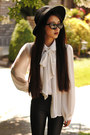 Cat-eye-romwe-sunglasses-wide-brim-oasap-hat-oasap-leggings