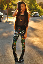 Wasteland leggings - black patent combat Target boots - snupped bag
