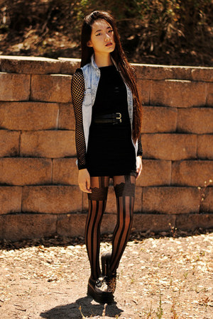 black Sugarlips dress - OASAP tights - OASAP sneakers - denim romwe vest
